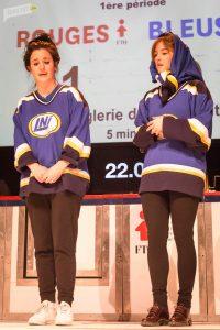 Virginie Fortin et Florence Longpré des Bleus CSN, lors du match du 8 février dernier. Photo par Corentin Hignoul